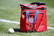 ANAHEIM, CA - AUGUST 12:  A baseball and Los Angeles Angels of Anaheim ball bag lie on the grass before the game against the Seattle Mariners on Sunday, August 12, 2012 at Angel Stadium in Anaheim, California. The Mariners won the game 4-1. (Photo by Paul Spinelli/MLB Photos via Getty Images)