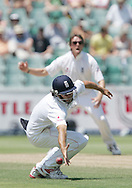 Alastair Cook has a near miss while Graeme Swann looks on during day 3 of the 4th Castle Test between South Africa and England held at The Bidvest Wanderers Stadium in Johannesburg, South Africa on the 16 January 2010.Photo by:  Ron Gaunt/SPORTZPICS