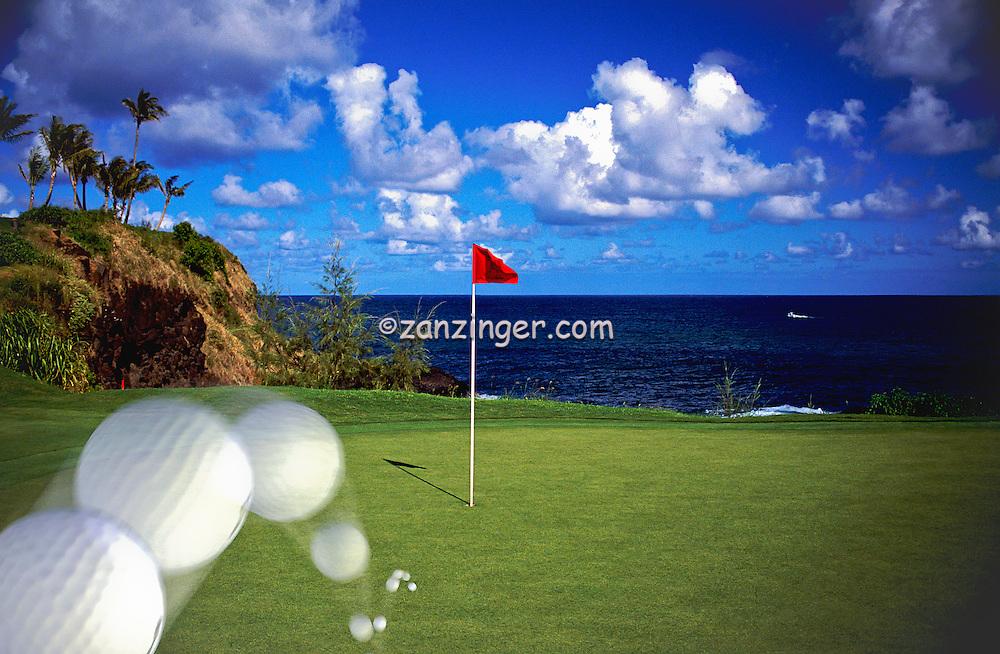 Ocean, Golf Course, 18th Green, Hole in one, Ocean, Greens, Ocean, Water, Hazard,  Composite, CGI, Golf Ball, landing, Bouncing