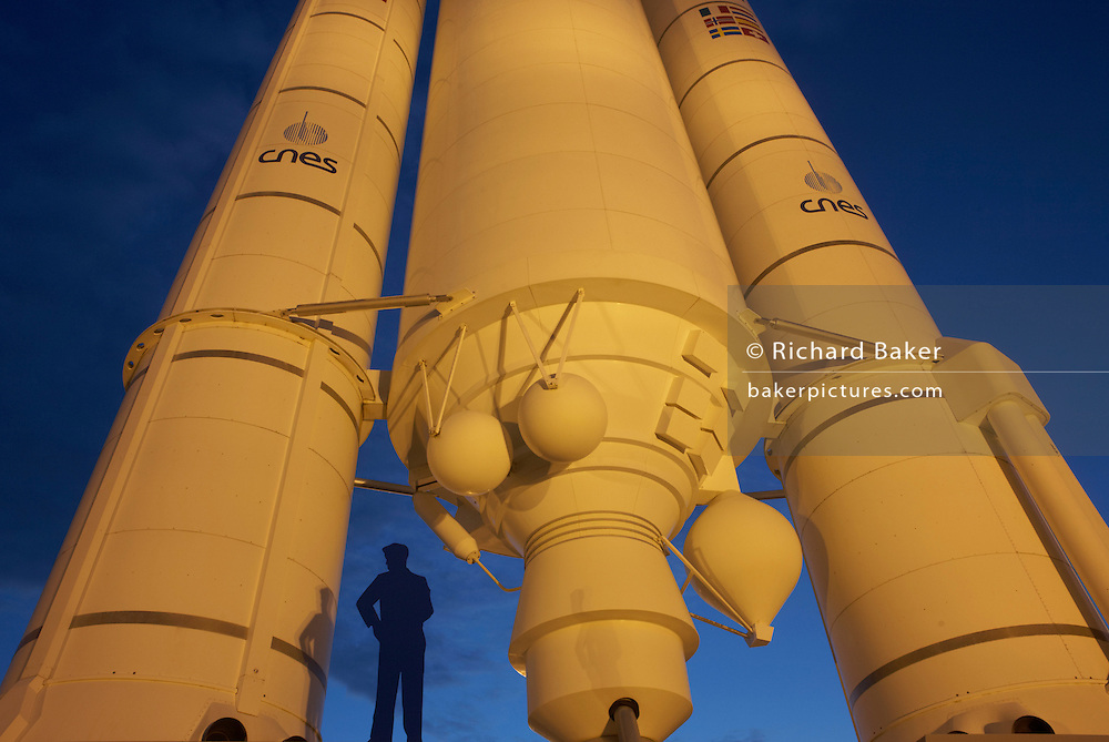 A full-scale model of a 50.5 meter-high European Space Agency's (ESA) Ariane 5 rocket at museum of Guiana Space Centre