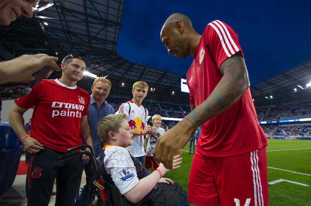 HARRISON, NJ - AUGUST 17:  Thierry Henry #14 of New York Red Bulls look on before the game against the Philadelphia Union at Red Bulls Arena on August 17, 2013. (Photo By: Rob Tringali)