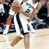 03 May 2017: San Antonio Spurs forward Kawhi Leonard (2) is seen during the San Antonio Spurs 121-96 victory over the Houston Rockets, in game 2 of the Western Conference Semi Finals, at the AT&T Center, San Antonio, Texas, USA.