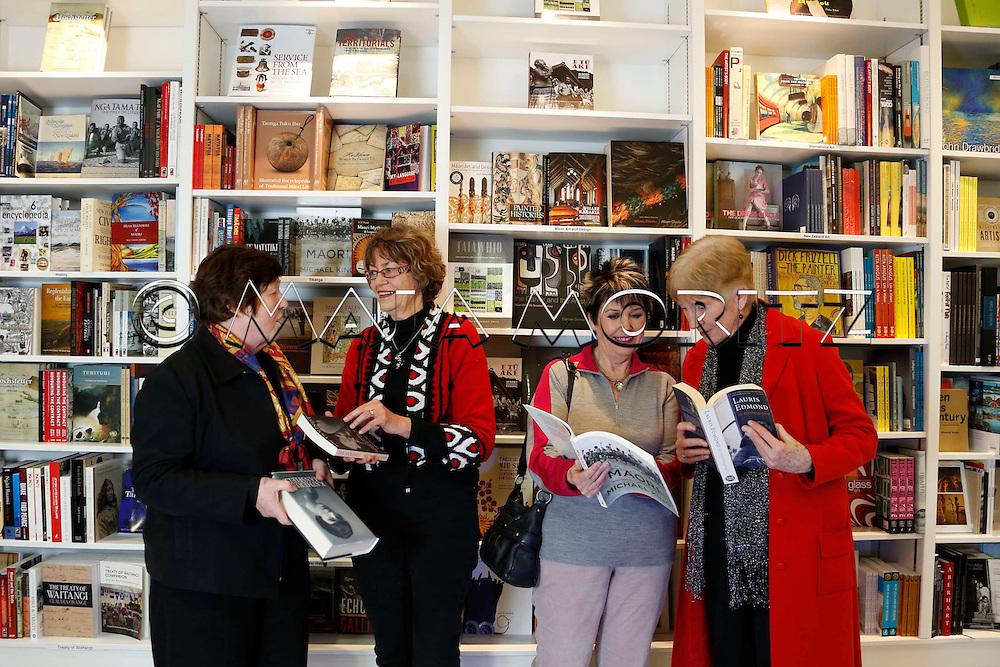 Wellington Writers Walk comes to Frankfurt, Members of the Writers Walk Committee from left Geraldine Baumann, Robyn Cooper, Rosemary Wildblood, Barbara Murison, Te Papa Store, Wellington, New Zealand