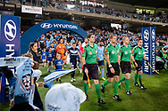 SYDNEY, AUSTRALIA - MAY 12: Teams walk onto the field at the Elimination Final of the Hyundai A-League Final Series soccer between Sydney FC and Melbourne Victory on May 12, 2019 at Netstrata Jubilee Stadium in Sydney, Australia. (Photo by Speed Media/Icon Sportswire)