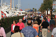 Tourists visit superyacht marina in Port America's Cup; Valencia, Spain.