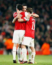 16.02.2011, Emirates Stadium, London, ENG, UEFA CL, FC Arsenal vs FC Barcelona, im Bild Arsenal's Cesc Fabregas (captain)with Arsenal's Robin van Persie and Arsenal's Jack Wilshere in  Scenes of Celebration after final whistle  after Arsenal vs Barcelona for the UCL  ,Round of last 16, at the Emirates Stadium in London on 16/02/2011, EXPA Pictures © 2011, PhotoCredit: EXPA/ IPS/ Kieran Galvin +++++ ATTENTION - OUT OF ENGLAND/GBR and France/ FRA +++++