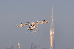 Presentation and first flight of the Volocopter 2X used as Autonomous Air Taxi, in Dubai, United Arab Emirates, on September 25, 2017. It is a drone that will be the world's first self-flying taxi service set to be introduced by Dubai's Road and Transport Authority (RTA), in the coming years. The two-seater vehicle, is capable of transporting people without human intervention or a pilot, and is supplied by Volocopter, a Germany-based specialist manufacturer of autonomous air vehicles. Photo by Balkis Press/ABACAPRESS.COM