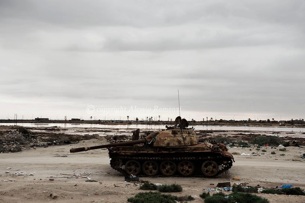 Libya, Zuwara: Abandoned tank on the shore of Zuwara. Alessio Romenzi