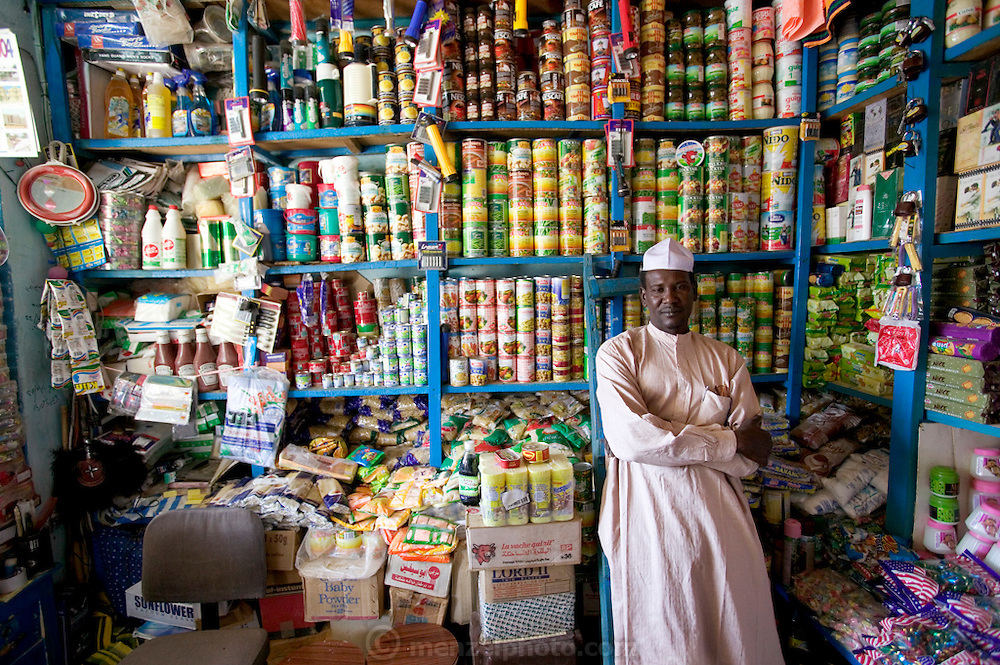 One of the few relatively well-stocked (but expensive) small markets in Abeche, Chad that carries canned and packaged goods.