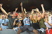 Noah Lyles (USA) poses with fans after winning the 100m in 9.98 in the IAAF Diamond League final during the Weltkasse Zurich at Letzigrund Stadium, Thursday, Aug. 29, 2019, in Zurich, Switzerland. (Jiro Mochizuki/Image of Sport)