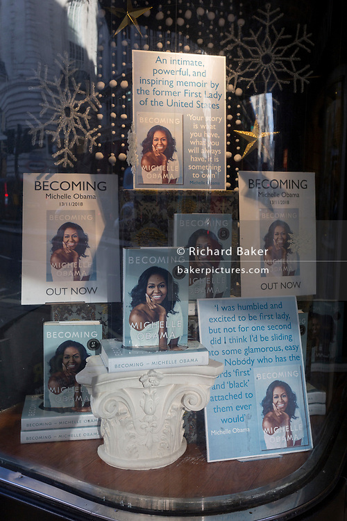 A display of books in the window of Waterstones in Piccadilly, for the eagerly-anticipated bestselling title, 'Becoming' by the former First Lady of the United States, Michelle Obama, before her publicity tour of the UK, on 13th November 2018, in London, England.