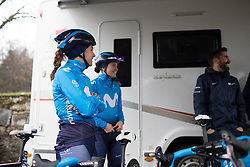 Movistar Women's Team riders are preparing to roll to the sign-on of the Trofeo Alfredo Binda - a 131,1 km road race, between Taino and Cittiglio on March 18, 2018, in Varese, Italy. (Photo by Balint Hamvas/Velofocus.com)