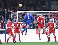 Photo: Jo Caird<br /> Peterborough v Bristol City<br /> Nationwide Div 2 2004<br /> 14/02/2004.<br /> <br /> Mark Arber misses a shot at goal