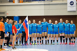 Players of Slovenia during handball match between Women national teams of Slovenia and Denmark in Round #5 of Qualifications for Women's EHF EURO 2018 Championship in France, on May 30, 2018 in Sports hall Golovec, Celje, Slovenia. Photo by Urban Urbanc / Sportida