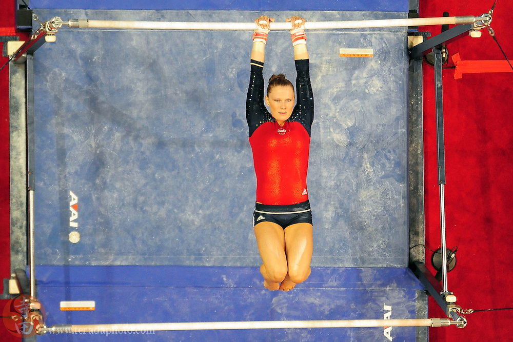 June 29, 2012; San Jose, CA, USA; Bridget Sloan warms up on the uneven bars during the 2012 USA Gymnastics Olympic Team Trials at HP Pavilion.
