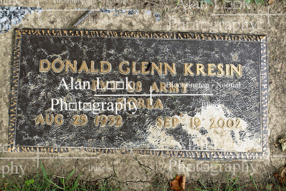 31 August 2017:   Veterans graves in Park Hill Cemetery in eastern McLean County.<br /> <br /> Donald Glenn Kresin Private US Army Korea Aug 25 1932 Sep 19 2002