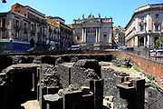 Ruins of Roman Amphitheatre and San Biagio church at Piazza Stesicoro (Stesicoro Square) in Catania, Sicily, Italy