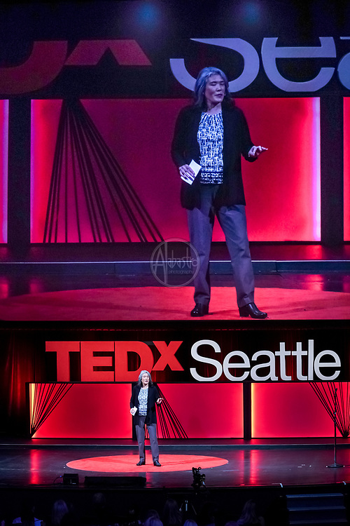 Tall Order TEDx Seattle 2018. Deborah Wang (TedX Seattle Host). Photo by Alabastro Photography.