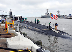 NORFOLK (June 24, 2013) The Virginia-class attack submarine Pre-Commissioning Unit (PCU) Minnesota (SSN 783) pulls pierside at Naval Station Norfolk from a scheduled underway. Minnesota, the Navy's 10th Virginia-class submarine, was delivered to the Navy June 6, 11 months ahead of schedule. Construction of the Minnesota by Huntington Ingalls Industries at the company's Newport News, Va., shipbuilding division began in Feb. 2008.  The boat was christened on Oct. 27, 2012, and will be commissioned at a ceremony in Norfolk Sept. 7. (U.S. Navy photo by Mass Communication Specialist 2nd Class Alex R. Forster/Released) 130624-N-WO496-002<br /> Join the conversation<br /> http://www.facebook.com/USNavy<br /> http://www.twitter.com/USNavy<br /> http://navylive.dodlive.mil<br /> http://pinterest.com<br /> http://plus.google.com