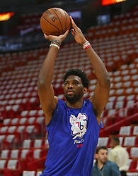 April 19, 2018 - Miami, FL, USA - Philadelphia 76ers center Joel Embiid warms up before the start of play against the Miami Heat in Game 3 of a first-round NBA playoff series at AmericanAirlines Arena in Miami on Thursday, April 19, 2018. (Credit Image: © David Santiago/TNS via ZUMA Wire)