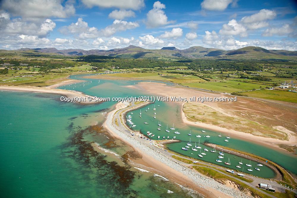 Aerial view of Shell Island<br /> Mochras<br /> Gwynedd<br /> Mid <br /> Coastal Scenery