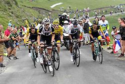 July 25, 2018 - Saint Lary Soulan, France - SAINT-LARY-SOULAN COL DU PORTET, FRANCE - JULY 25 : KRUIJSWIJK Steven (NED) of Team Lotto NL - Jumbo, DUMOULIN Tom (NED) of Team Sunweb, THOMAS Geraint (GBR) of Team SKY, ROGLIC Primoz (SLO) of Team Lotto NL - Jumbo  during stage 17 of the 105th edition of the 2018 Tour de France cycling race, a stage of 65 kms between Bagneres-de-Luchon and Saint-Lary-Soulan Col Du Portet on July 25, 2018 in Saint-Lary-Soulan Col Du Portet, France, 25/07/2018 (Credit Image: © Panoramic via ZUMA Press)