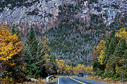 Scenic drive through The White Mountains National Forest, New Hampshire, USA.