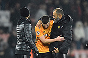 Wolverhampton Wanderers manager Nuno Espirito Santo hugs Matt Doherty (2) of Wolverhampton Wanderers as they celebrate the 2-1 win at full time during the Premier League match between Bournemouth and Wolverhampton Wanderers at the Vitality Stadium, Bournemouth, England on 23 November 2019.