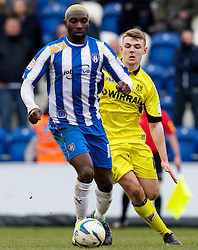 COLCHESTER, ENGLAND - Saturday, February 23, 2013: Tranmere Rovers' Max Power in action against Colchester United's Jabo Ibehre during the Football League One match at the Colchester Community Stadium. (Pic by Vegard Grott/Propaganda)
