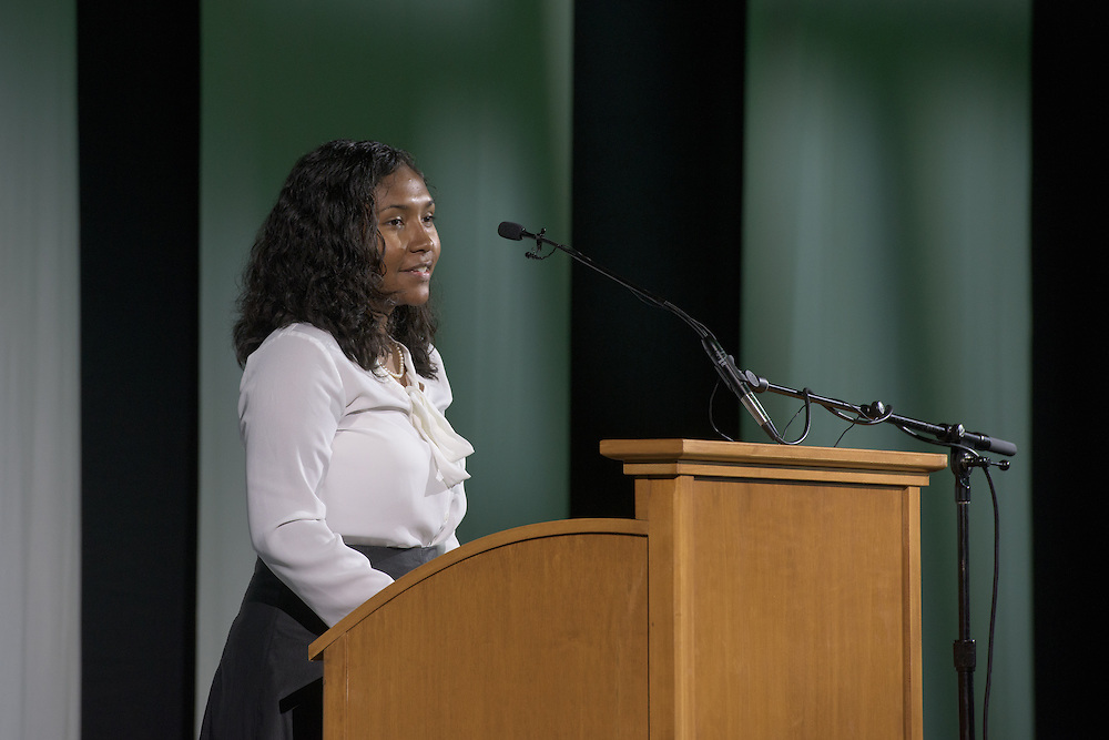 Alexis Appariocio give the opening remarks during the 2016 Black Alumni Reunion's Student and Alumni Networking event held at the Baker Center Ballroom on Friday, September 16, 2016.