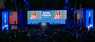 Hempstead, New York, USA. May 23, 2018. Before Hillary Clinton comes on stage to make Keynote Address, photos of Clinton's political career are on gigantic screen on stage, during Day 1 of New York State Democratic Convention, held at Hofstra University on Long Island.