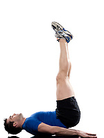 man doing abdominals workout posture on isolated white background.<br /> Bridge<br /> Hip Elevations