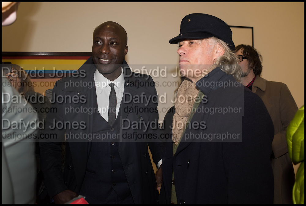OZWALD BOATENG AND BOB GELDOF at the Private view for A Strong Sweet Smell of Incense<br /> A Portrait of Robert Fraser, Curated by Brian Clarke. Pace Gallery. 6 Burlington Gardens. London. 5 February 2015.