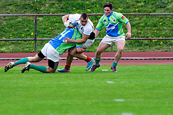 View on the field during rugby match between National team of Slovenia (green) and Bulgaria (white) at EUROPEAN NATIONS CUP 2012-2014 of C group 2nd division, on April 12, 2014, at ZAK Stadium, Ljubljana, Slovenia. (Photo by Matic Klansek Velej / Sportida.com)