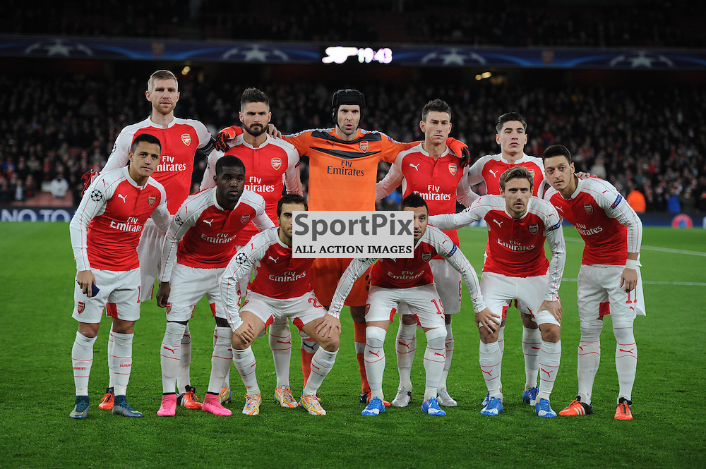 The Arsenal team before the Arsenal v Dinamo Zagreb game in the UEFA Champions League on the 24th November 2015 at the Emirates Stadium.