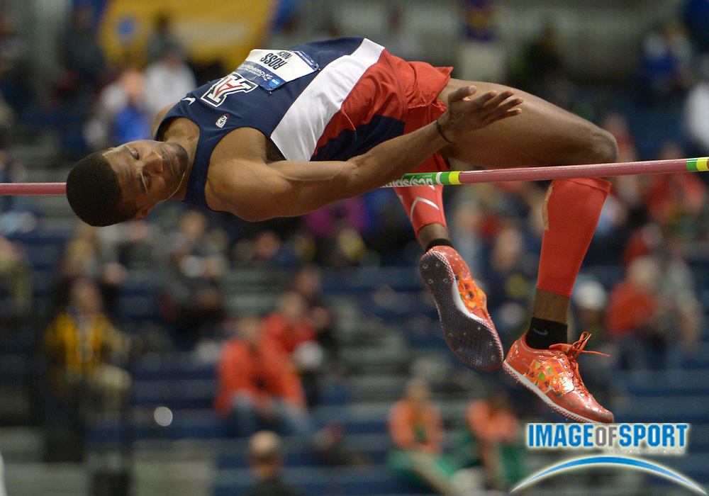 Mar 14, 2014; Albuquerque, NM, USA; Nick Ross of Arizona places second in the high jump at 7-6 (2.29m) in the 2014 NCAA Indoor Championships at Albuquerque Convention Center.
