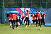 Japan players warm up during the Japan Training Session in preparation for the Rugby World Cup at Brighton College, Brighton & Hove, United Kingdom on 17 September 2015. Photo by David Charbit.