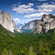 Yosemite Valley from Wawona Tunnel lookout with El Capitan at left, Yosemite National Park