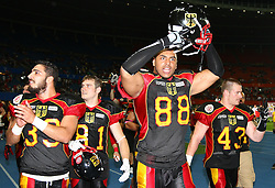 07.06.2014, Ernst Happel Stadion, Wien, AUT, American Football Europameisterschaft 2014, Finale, Oesterreich (AUT) vs Deutschland (GER), im Bild Jubel von Baris Atakan, (Team Germany, LB, #33), Gregor Lietzau, (Team Germany, WR, #81), Cedrik Clark, (Team Germany, DL, #88) und Mario Nowak, (Team Germany, LB, #43) // during the American Football European Championship 2014 final game between Austria and Denmark at the Ernst Happel Stadion, Vienna, Austria on 2014/06/07. EXPA Pictures © 2014, PhotoCredit: EXPA/ Thomas Haumer