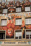 Folk art paintings decorate the buildings of Lucerne, Switzerland.