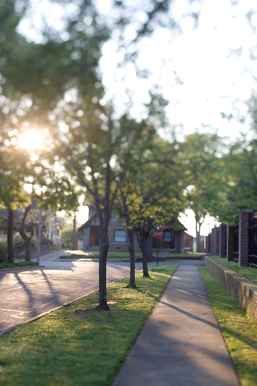 sidewalk in a neighborhood of home with the early morning sunlight coming through the trees.
