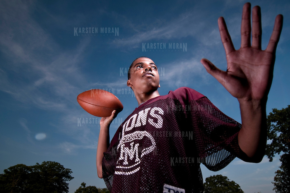 September 2, 2010 - Bronx, NY : The Horace Mann Lions football team works out the kinks in their game and gets into shape. Football preview pictures 2010-2011 season. Portrait of Junior co-captain Braxton Brewton.