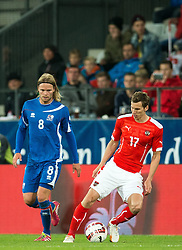 30.05.2014, Tivoli Stadion, Innsbruck, AUT, Fussball Testspiel, Oesterreich vs Island, im Bild Birkir Bjarnason (ISL), Florian Klein (AUT) // Birkir Bjarnason (ISL) (L) in action against Florian Klein (AUT) ( R ) during the International Friendly between Austria and Iceland at the Tivoli Stadion in Innsbruck, Austria on 2014/05/30. EXPA Pictures © 2014, PhotoCredit: EXPA/ Johann Groder