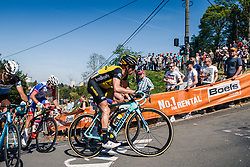 Peloton with CLEMENT Stef of Team LottoNL-Jumbo during 2nd lap on Mur de Huy at the 2018 La Flèche Wallonne race, Huy, Belgium, 18 April 2018, Photo by Thomas van Bracht / PelotonPhotos.com | All photos usage must carry mandatory copyright credit (Peloton Photos | Thomas van Bracht)
