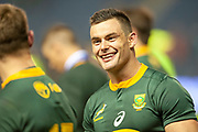 Jesse Kriel (#13) (Vodacom Blue Bulls) of South Africa is all smiles after the Autumn Test match between Scotland and South Africa at the BT Murrayfield Stadium, Edinburgh, Scotland on 17 November 2018.