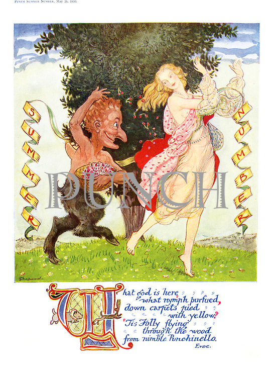 (Frontispiece to Punch Summer Number for 1930 - Punch as a faun chasing spring) (illustrated poem)