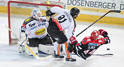 11.10.2015, Tiroler Wasserkraft Arena, Innsbruck, AUT, EBEL, HC TWK Innsbruck die Haie vs Dornbirner Eishockey Club, 10. Runde, im Bild vl.:  Florian Hardy (Dornbirner Eishockey Club), Robert Lembacher (Dornbirner Eishockey Club), Jeff Ulmer (HC TWK Innsbruck Die Haie) // during the Erste Bank Icehockey League 10th round match between HC TWK Innsbruck  die Haie and Dornbirner Eishockey Club at the Tiroler Wasserkraft Arena in Innsbruck, Austria on 2015/10/11, EXPA Pictures © 2015, PhotoCredit: EXPA/ Jakob Gruber