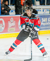 KELOWNA, CANADA - OCTOBER 10: Cole Martin #8 of the Kelowna Rockets warms up on the ice as the Spokane Chiefs visit the Kelowna Rockets on October 10, 2012 at Prospera Place in Kelowna, British Columbia, Canada (Photo by Marissa Baecker/Shoot the Breeze) *** Local Caption ***