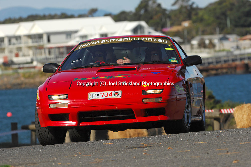 #704 - Gary Hughes & Katherine Sellers - 1990 Mazda RX7.Prologue.George Town.Targa Tasmania 2010.27th of April 2010.(C) Joel Strickland Photographics.Use information: This image is intended for Editorial use only (e.g. news or commentary, print or electronic). Any commercial or promotional use requires additional clearance.