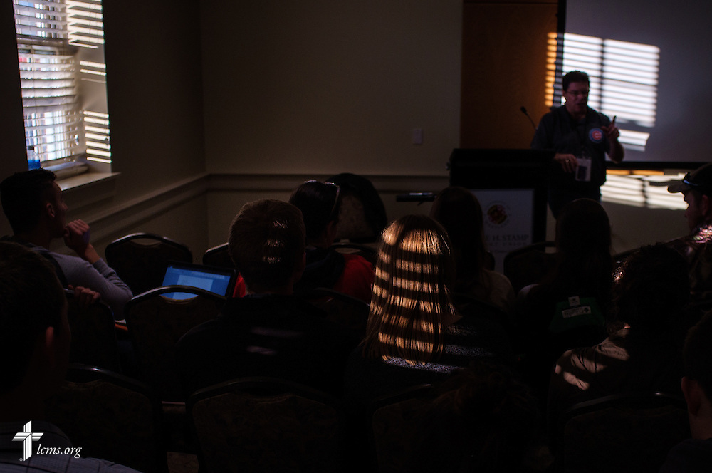 Light from a nearby window casts patterns as the Rev. Marty Marks, pastor at Immanuel Lutheran Church, DeKalb, Ill., presents his sectional during the Liberty National LCMS Campus Ministry Conference on Wednesday, Jan. 4, 2017, at the University of Maryland in College Park, Md. LCMS Communications/Erik M. Lunsford